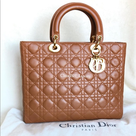 AUTH Large Lady Dior in Brown/Caramel Gold hdw